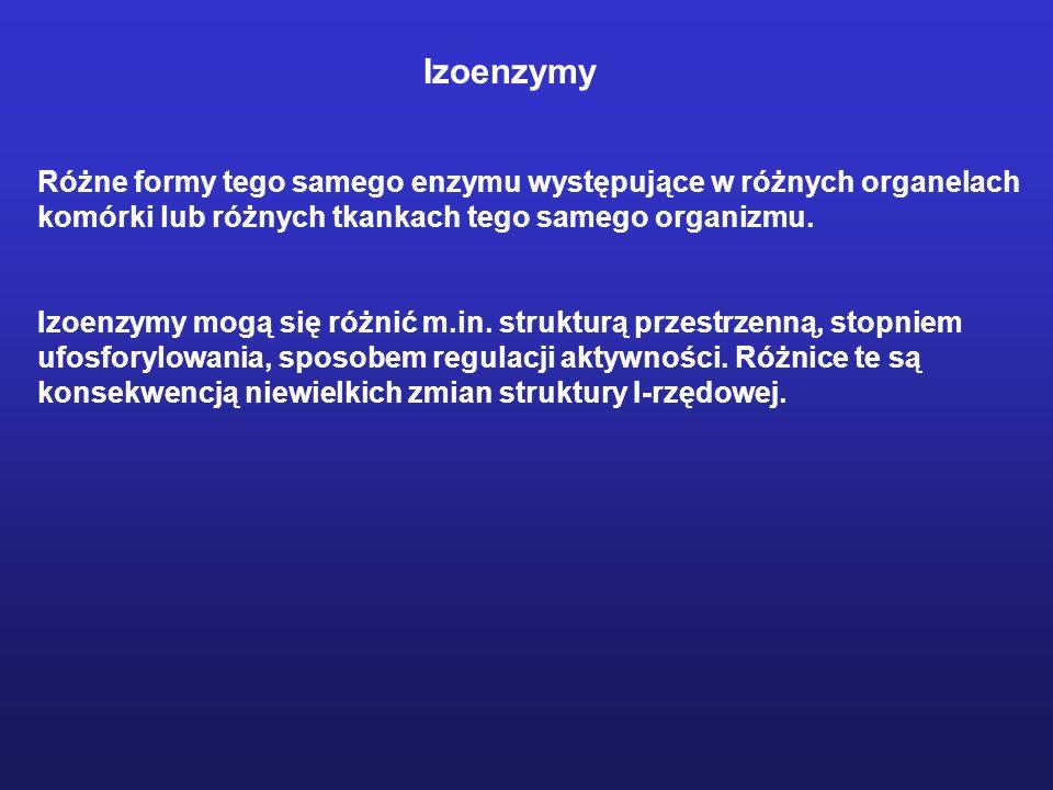 Izoenzymy Różne formy tego samego enzymu występujące w różnych organelach. komórki lub różnych tkankach tego samego organizmu.