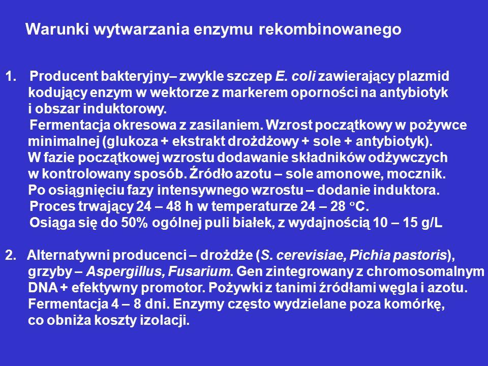 Warunki wytwarzania enzymu rekombinowanego
