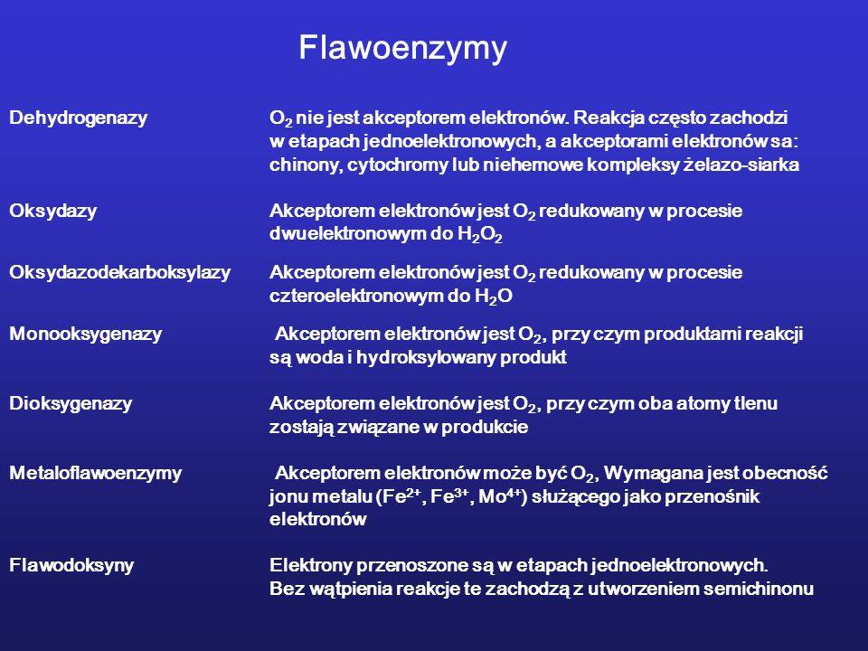 Flawoenzymy Dehydrogenazy O2 nie jest akceptorem elektronów. Reakcja często zachodzi. w etapach jednoelektronowych, a akceptorami elektronów sa: