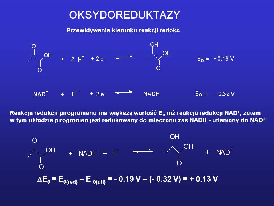 E0 = E0(red) – E 0(utl) = - 0.19 V – (- 0.32 V) = + 0.13 V