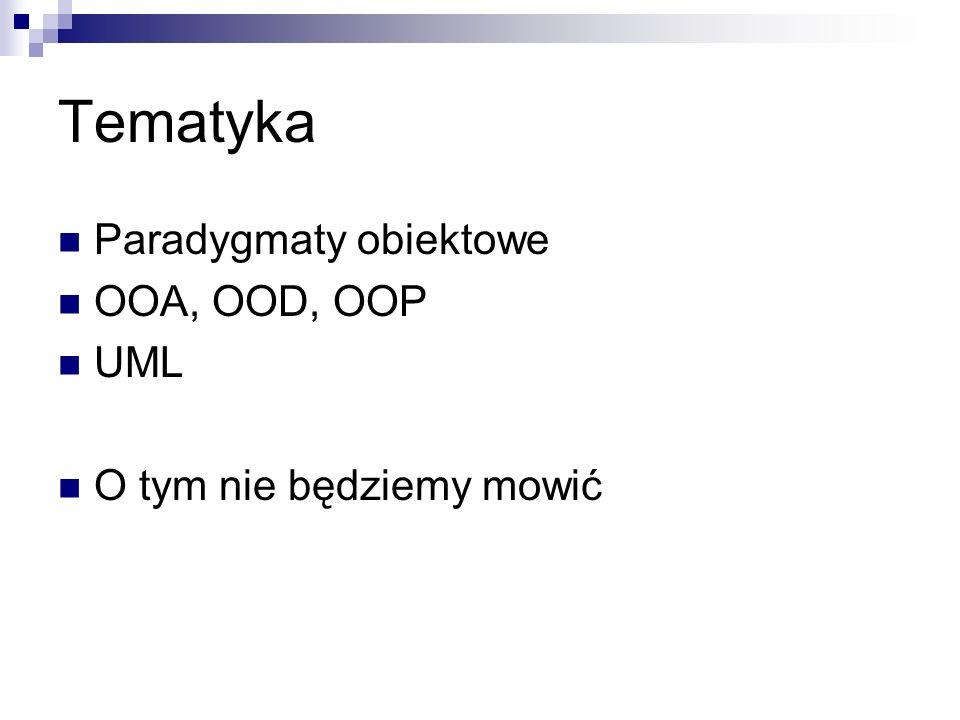 Tematyka Paradygmaty obiektowe OOA, OOD, OOP UML