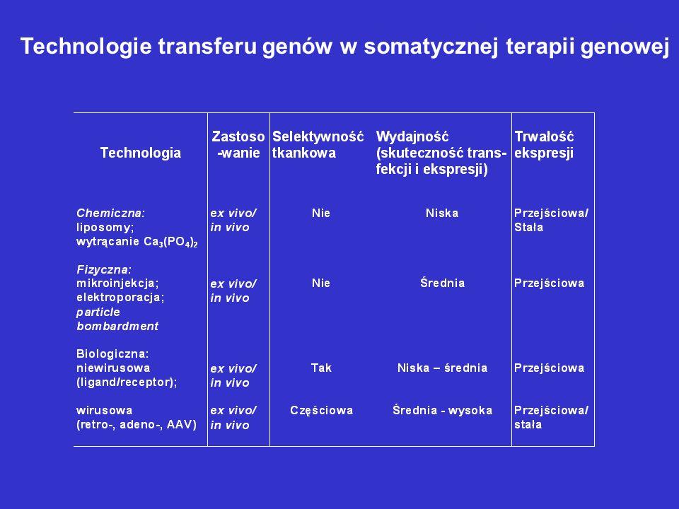Technologie transferu genów w somatycznej terapii genowej