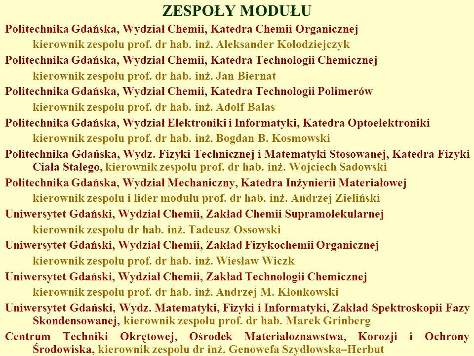 ZESPOŁY MODUŁU Politechnika Gdańska, Wydział Chemii, Katedra Chemii Organicznej. kierownik zespołu prof. dr hab. inż. Aleksander Kołodziejczyk.