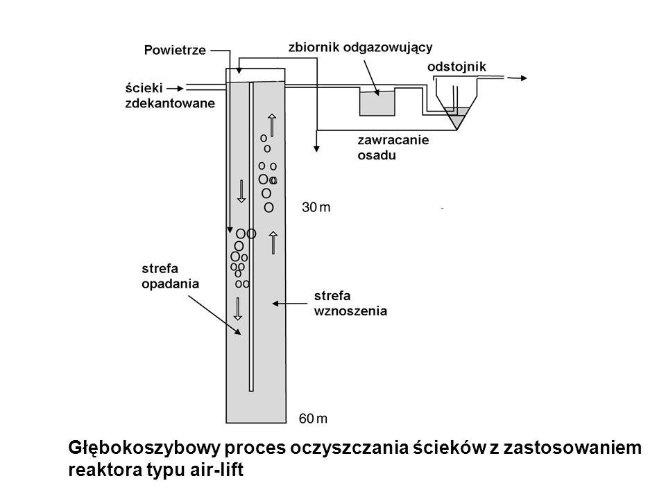 Głębokoszybowy proces oczyszczania ścieków z zastosowaniem