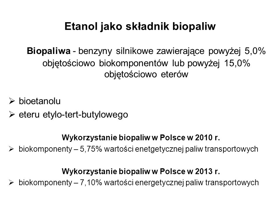 Etanol jako składnik biopaliw