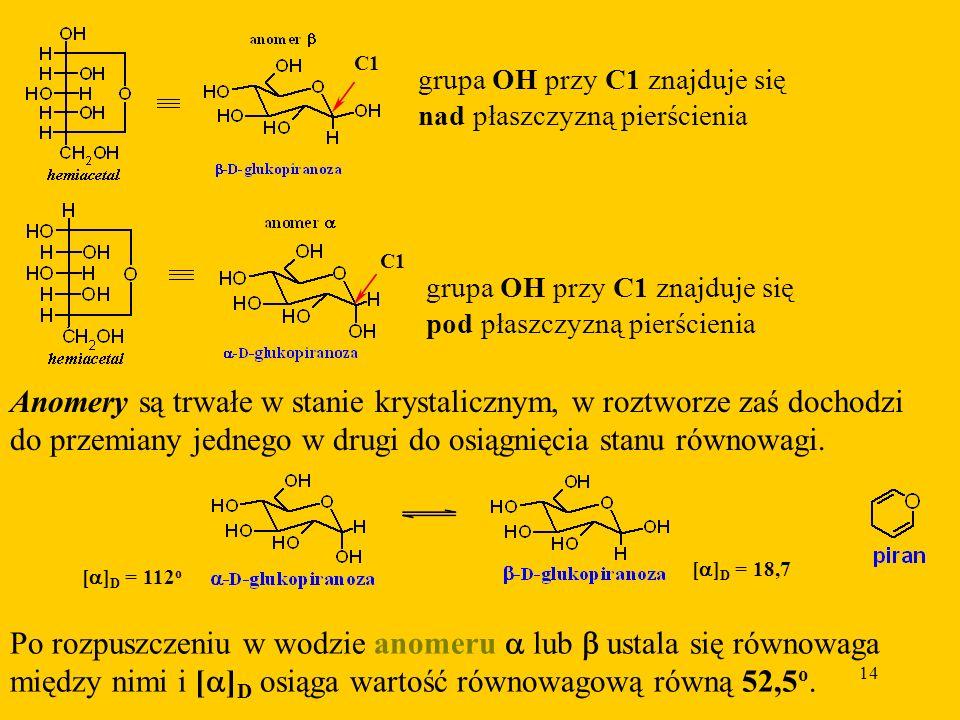 Anomery są trwałe w stanie krystalicznym, w roztworze zaś dochodzi