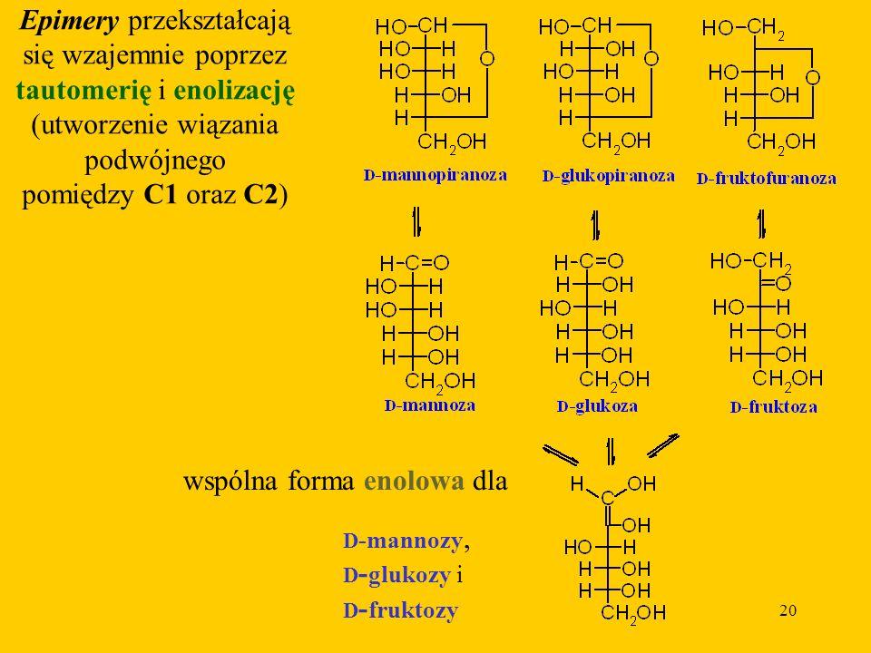 Epimery przekształcają się wzajemnie poprzez tautomerię i enolizację