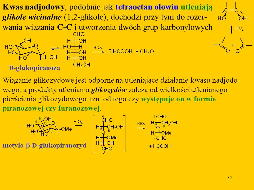 Kwas nadjodowy, podobnie jak tetraoctan ołowiu utleniają glikole wicinalne (1,2-glikole), dochodzi przy tym do rozer-wania wiązania C-C i utworzenia dwóch grup karbonylowych