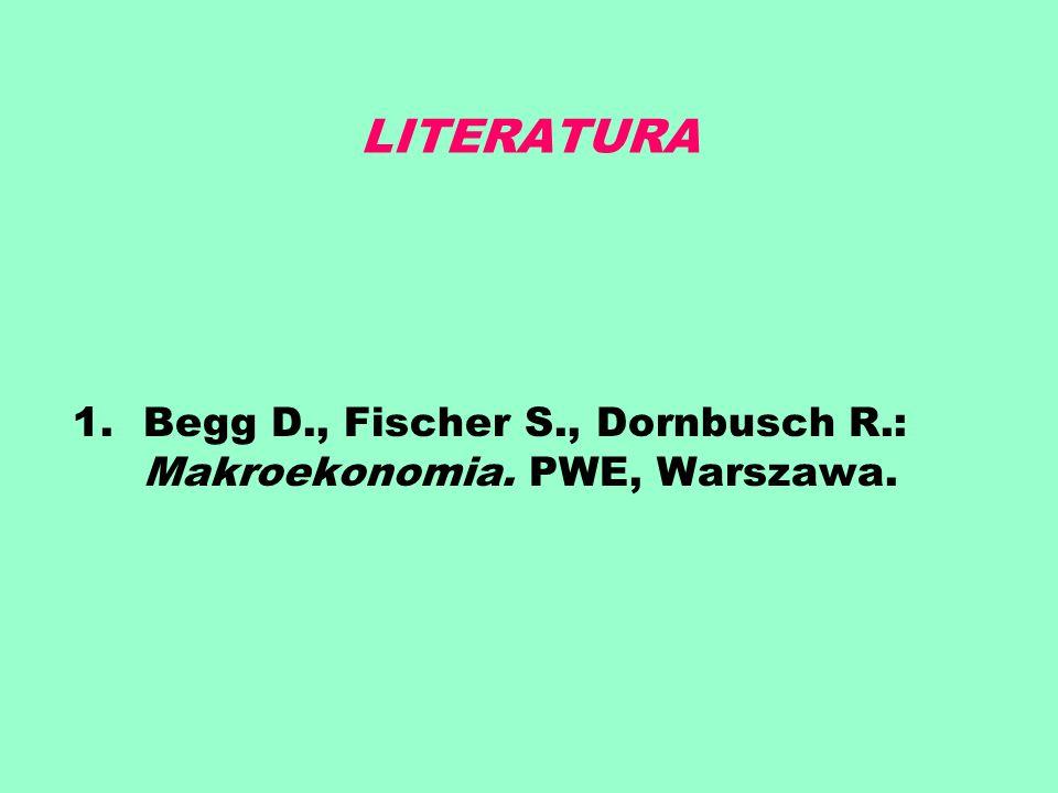 LITERATURA Begg D., Fischer S., Dornbusch R.: Makroekonomia. PWE, Warszawa.