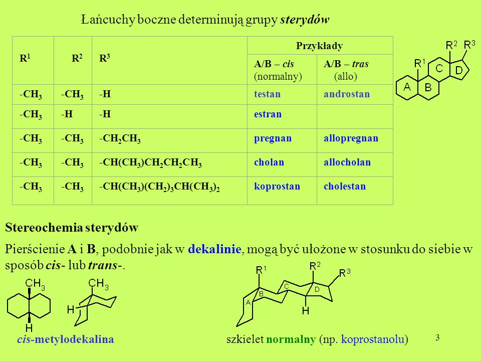 Łańcuchy boczne determinują grupy sterydów