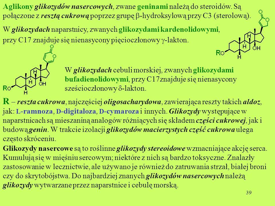 Aglikony glikozydów nasercowych, zwane geninami należą do steroidów