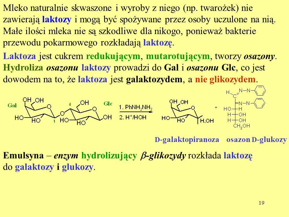 Emulsyna – enzym hydrolizujący b-glikozydy rozkłada laktozę