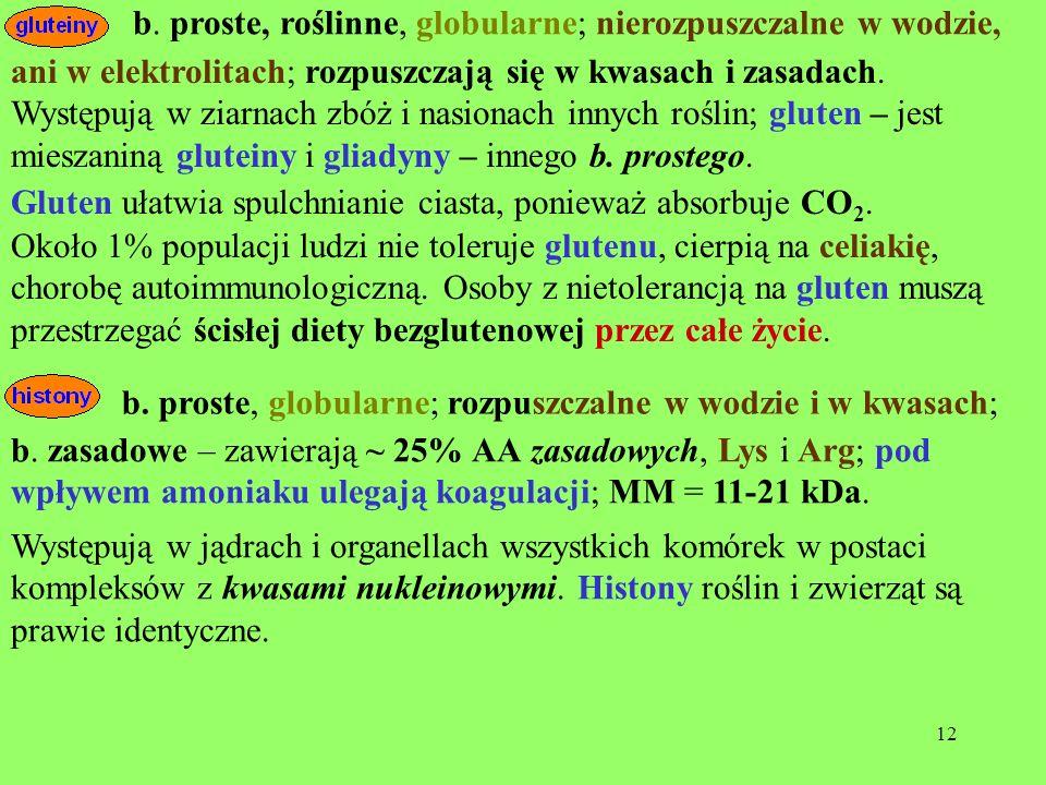 b. proste, roślinne, globularne; nierozpuszczalne w wodzie,