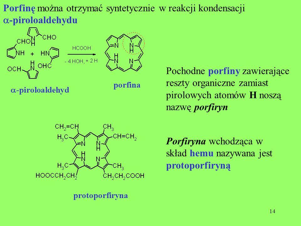 Porfinę można otrzymać syntetycznie w reakcji kondensacji
