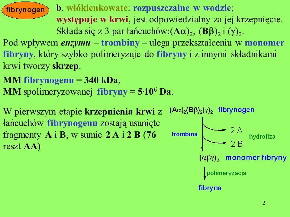 b. włókienkowate: rozpuszczalne w wodzie;