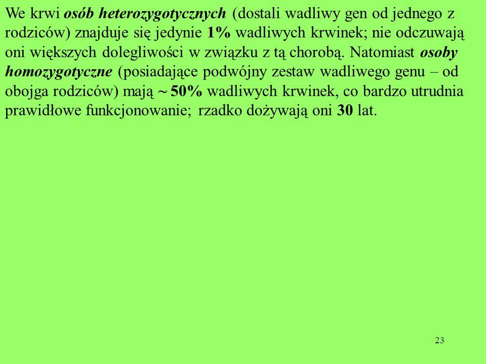 We krwi osób heterozygotycznych (dostali wadliwy gen od jednego z rodziców) znajduje się jedynie 1% wadliwych krwinek; nie odczuwają oni większych dolegliwości w związku z tą chorobą.