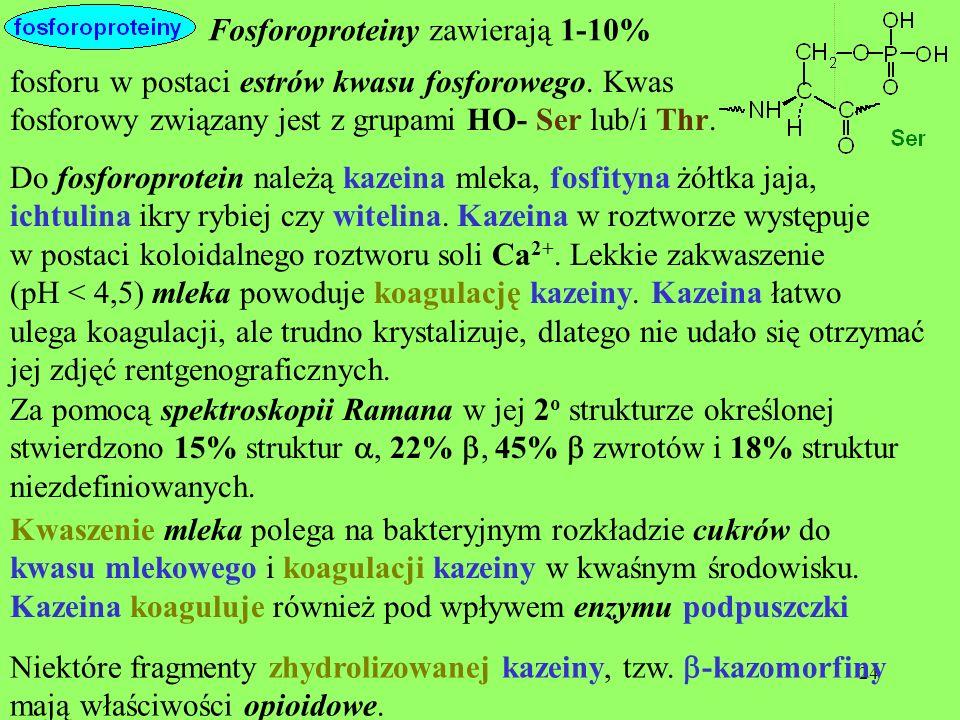 Fosforoproteiny zawierają 1-10%