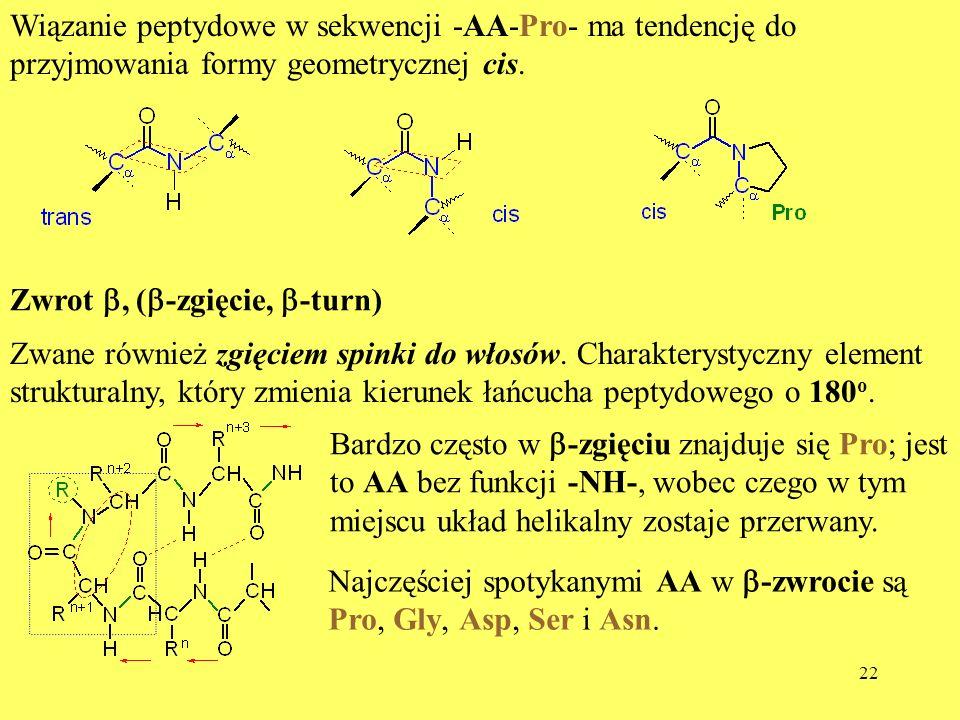 Wiązanie peptydowe w sekwencji -AA-Pro- ma tendencję do przyjmowania formy geometrycznej cis.