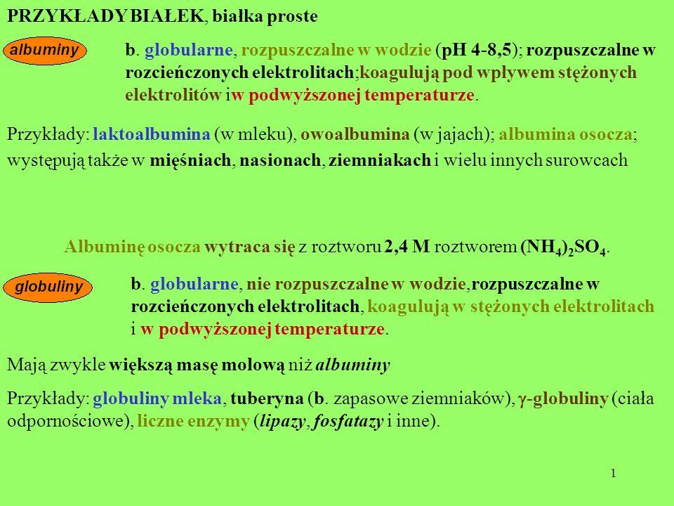 Albuminę osocza wytraca się z roztworu 2,4 M roztworem (NH4)2SO4.