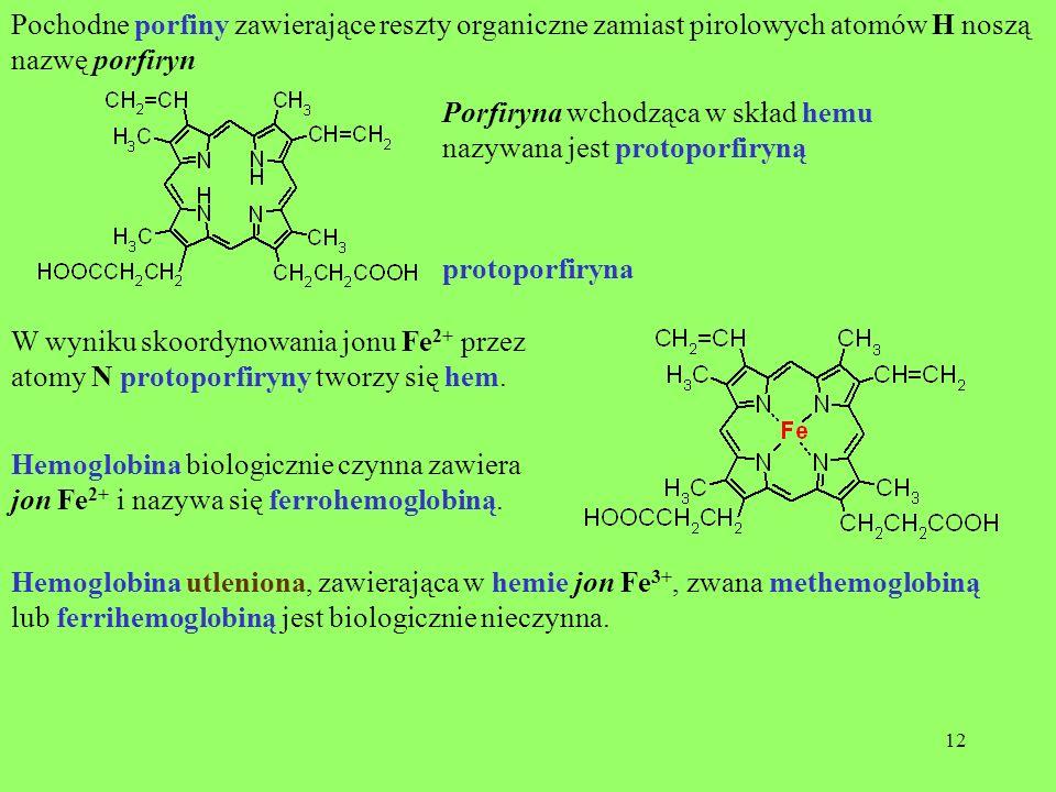 Pochodne porfiny zawierające reszty organiczne zamiast pirolowych atomów H noszą nazwę porfiryn