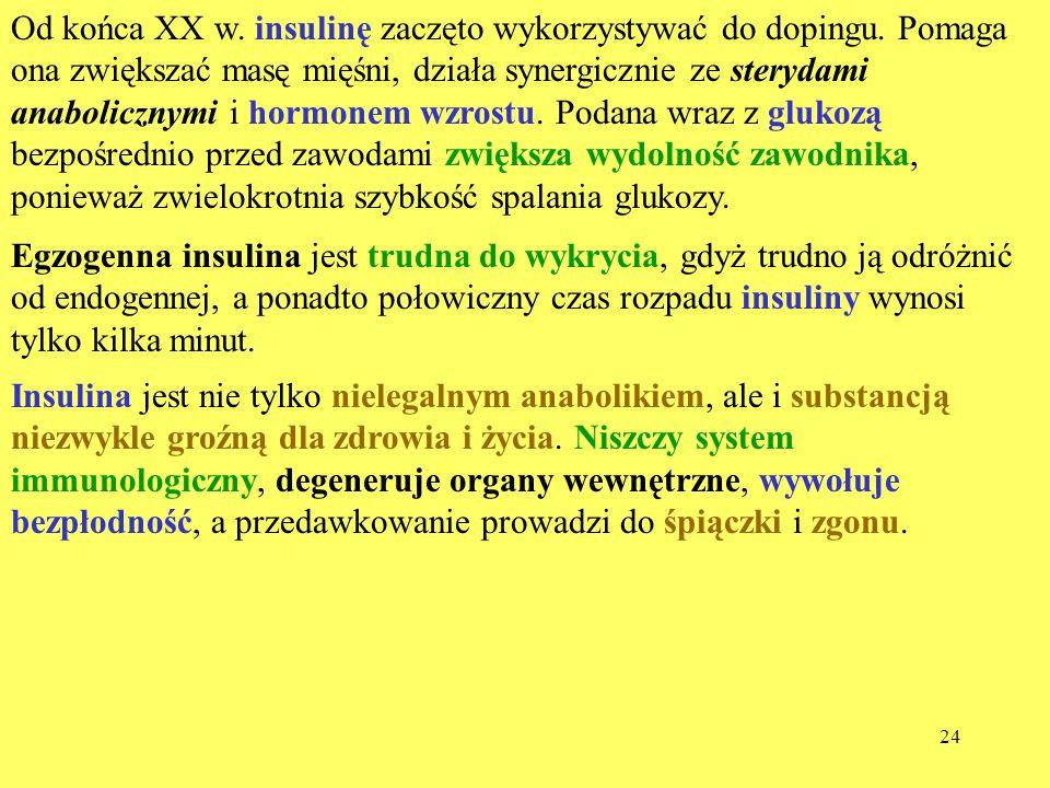 Od końca XX w. insulinę zaczęto wykorzystywać do dopingu