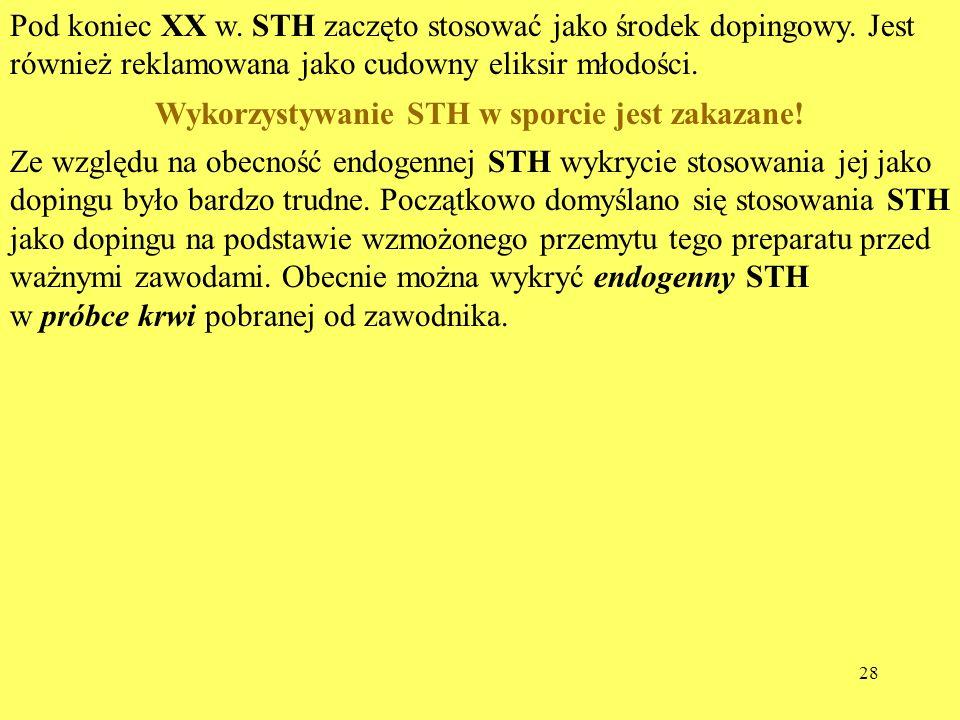 Wykorzystywanie STH w sporcie jest zakazane!