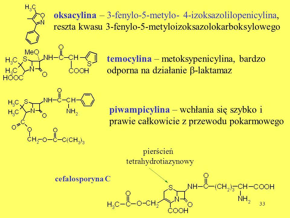 temocylina – metoksypenicylina, bardzo odporna na działanie b-laktamaz