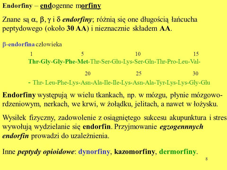 Znane są a, b, g i d endorfiny; różnią się one długością łańcucha