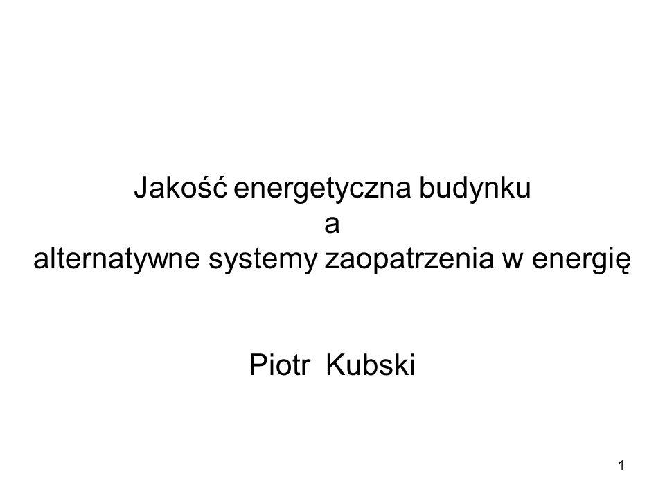 Jakość energetyczna budynku a alternatywne systemy zaopatrzenia w energię Piotr Kubski