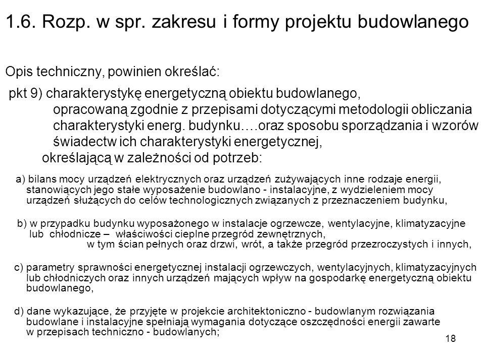 1.6. Rozp. w spr. zakresu i formy projektu budowlanego