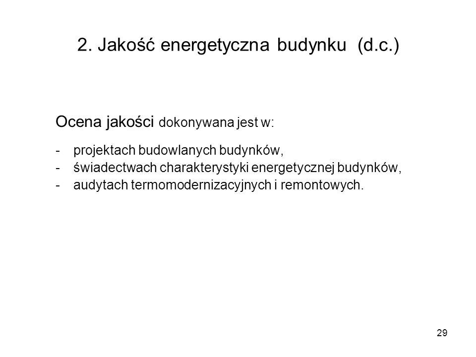 2. Jakość energetyczna budynku (d.c.)