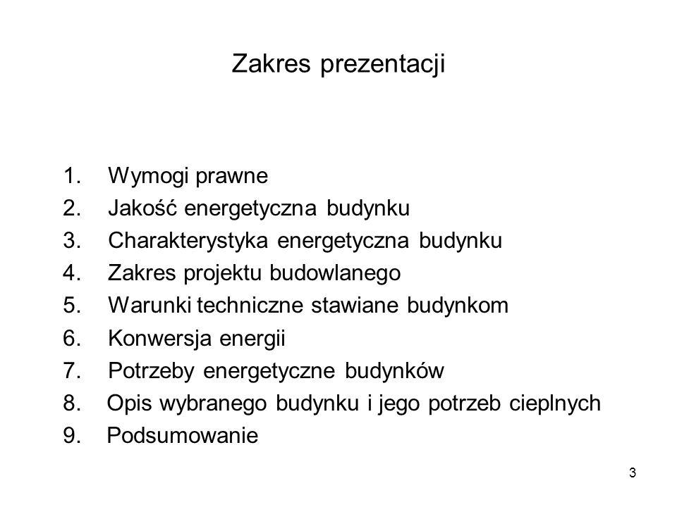 Zakres prezentacji Wymogi prawne Jakość energetyczna budynku