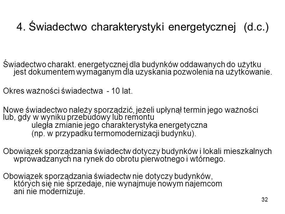 4. Świadectwo charakterystyki energetycznej (d.c.)