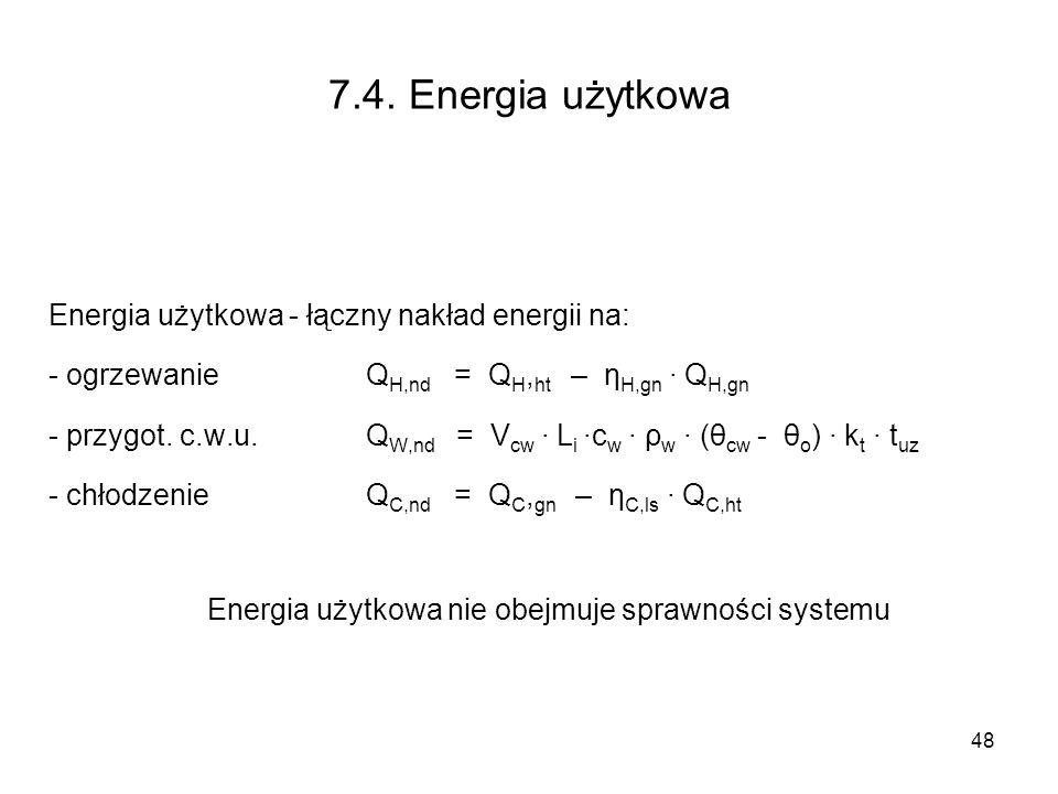 Energia użytkowa nie obejmuje sprawności systemu