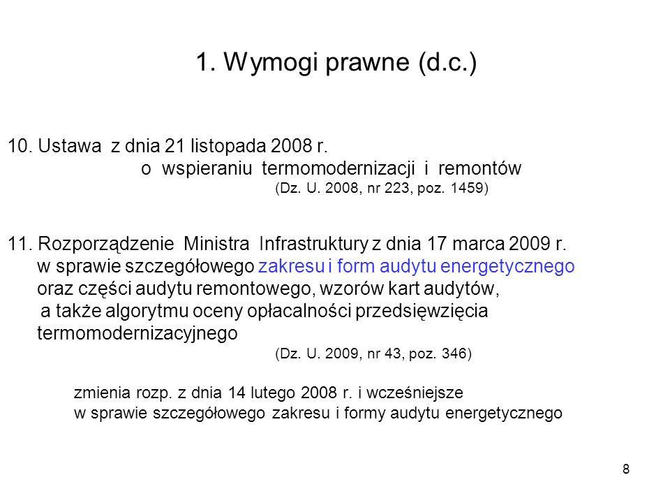 1. Wymogi prawne (d.c.) 10. Ustawa z dnia 21 listopada 2008 r.
