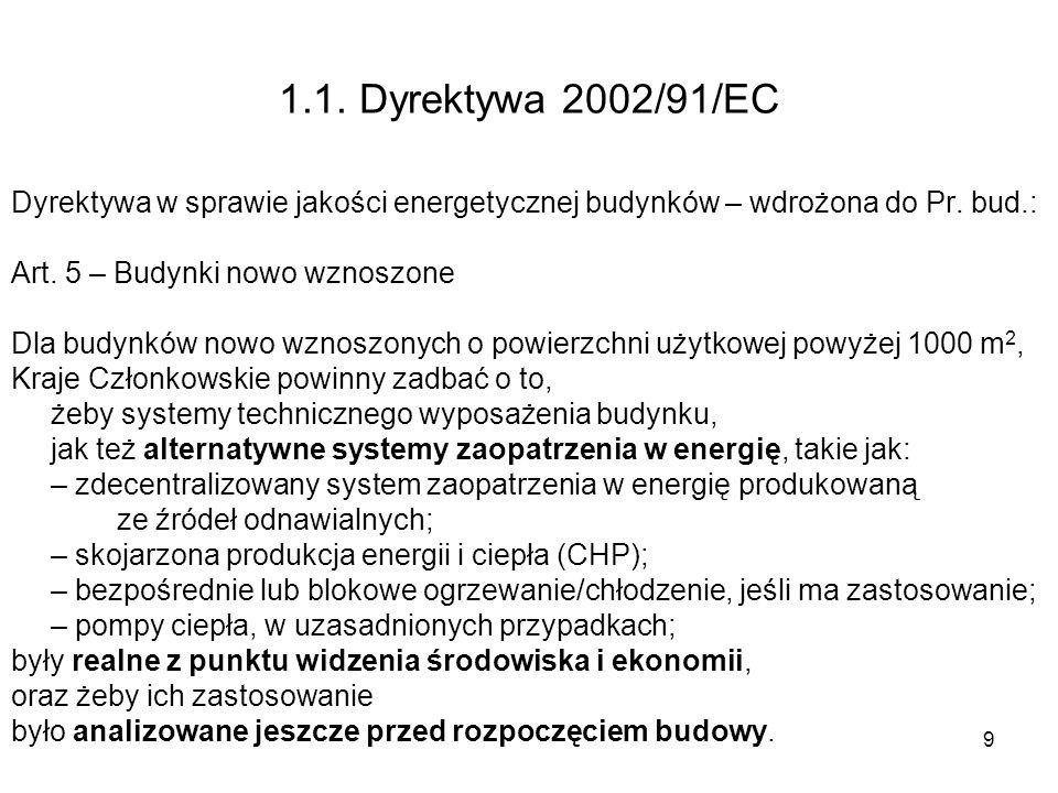 1.1. Dyrektywa 2002/91/ECDyrektywa w sprawie jakości energetycznej budynków – wdrożona do Pr. bud.: