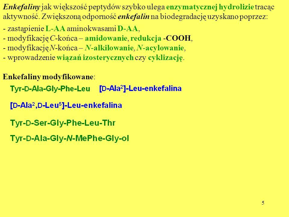 Enkefaliny jak większość peptydów szybko ulega enzymatycznej hydrolizie tracąc aktywność. Zwiększoną odporność enkefalin na biodegradację uzyskano poprzez:
