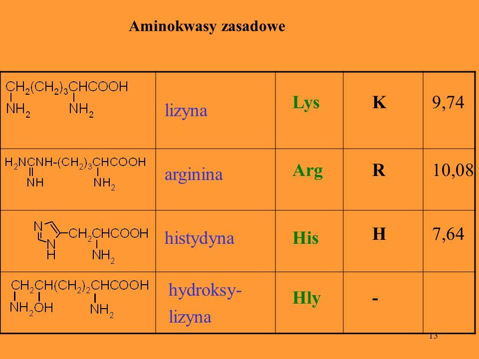 Lys K 9,74 lizyna Arg R 10,08 arginina H 7,64 histydyna His hydroksy-