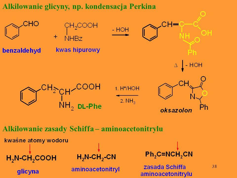 Alkilowanie glicyny, np. kondensacja Perkina