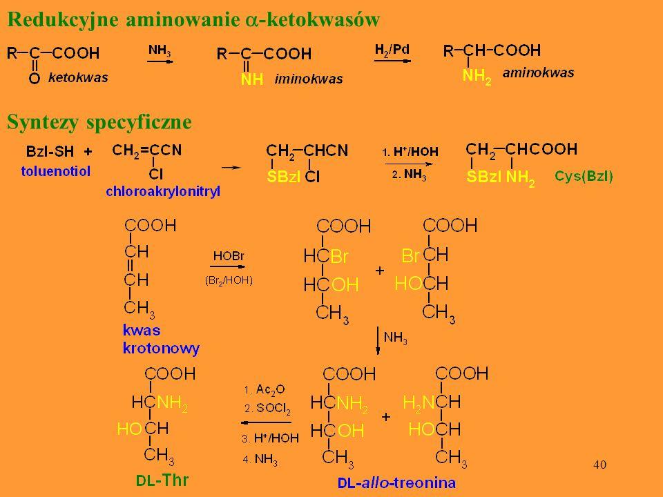 Redukcyjne aminowanie a-ketokwasów