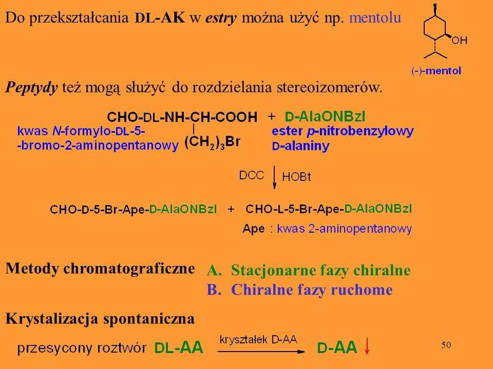 Do przekształcania DL-AK w estry można użyć np. mentolu