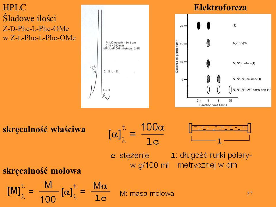 HPLC Śladowe ilości Elektroforeza skręcalność właściwa