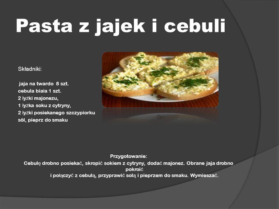 Pasta z jajek i cebuli Składniki: jaja na twardo 8 szt.