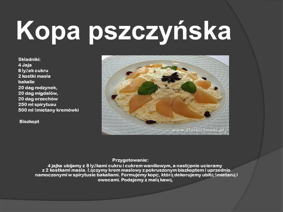 Kopa pszczyńska Składniki: 4 Jaja 8 łyżek cukru 2 kostki masła bakalie