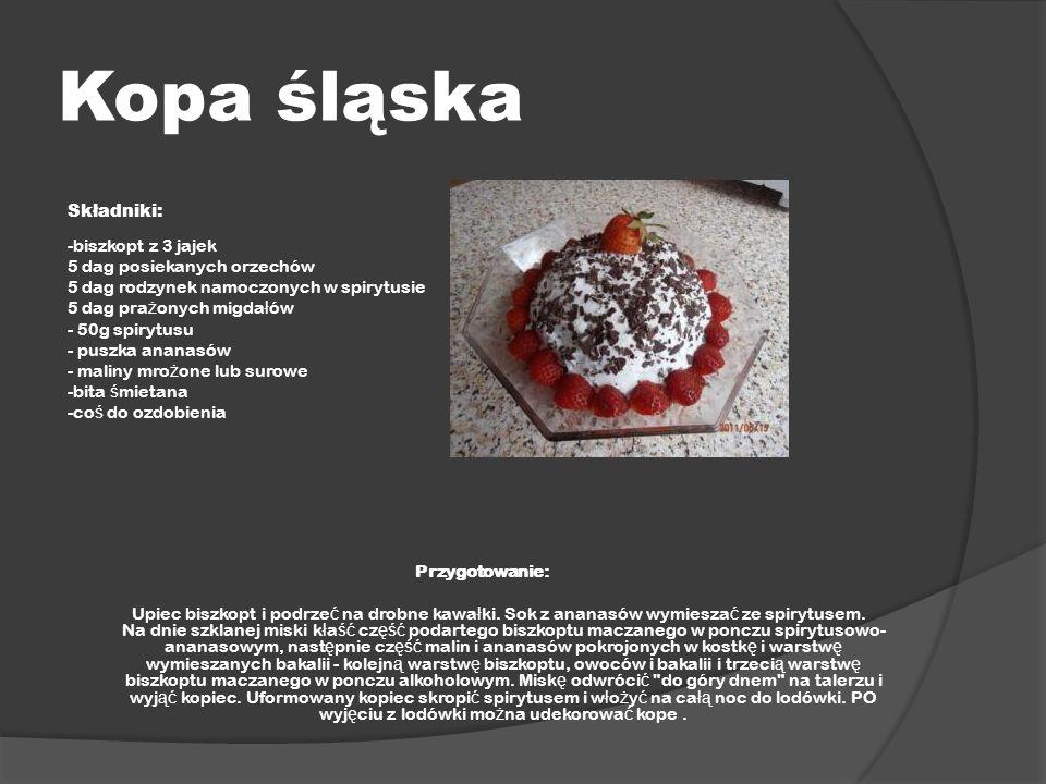 Kopa śląska Składniki: -biszkopt z 3 jajek 5 dag posiekanych orzechów
