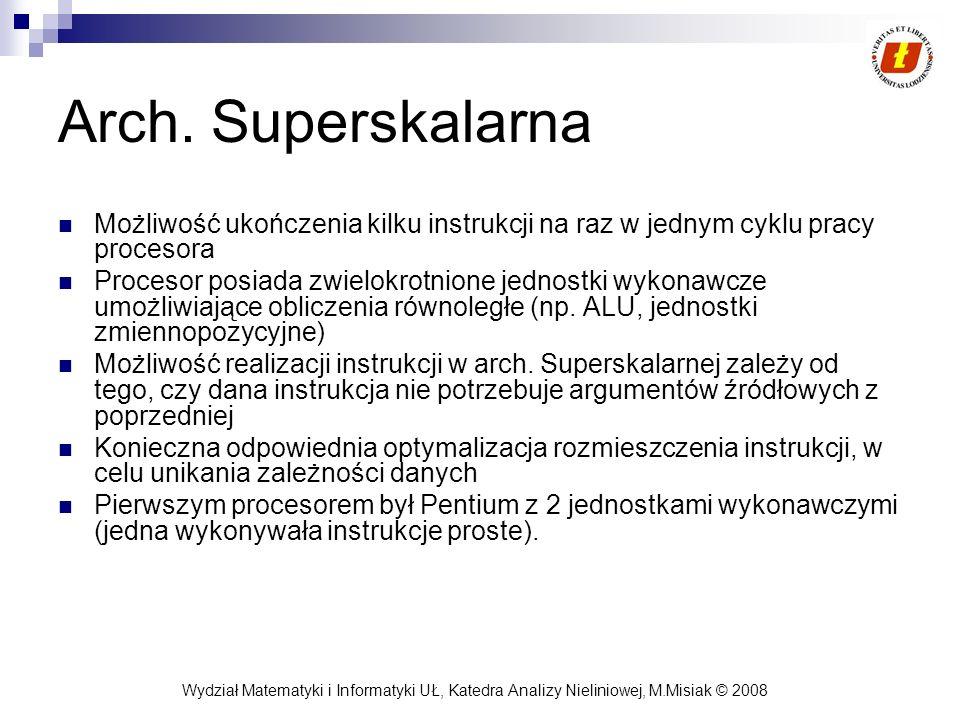 Arch. Superskalarna Możliwość ukończenia kilku instrukcji na raz w jednym cyklu pracy procesora.