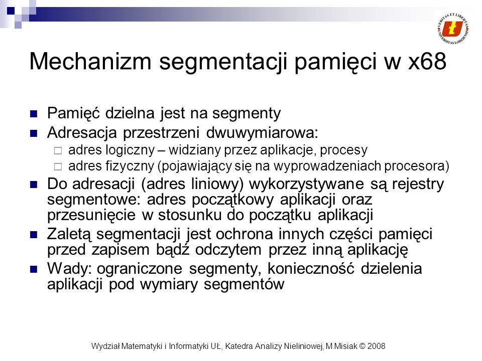 Mechanizm segmentacji pamięci w x68