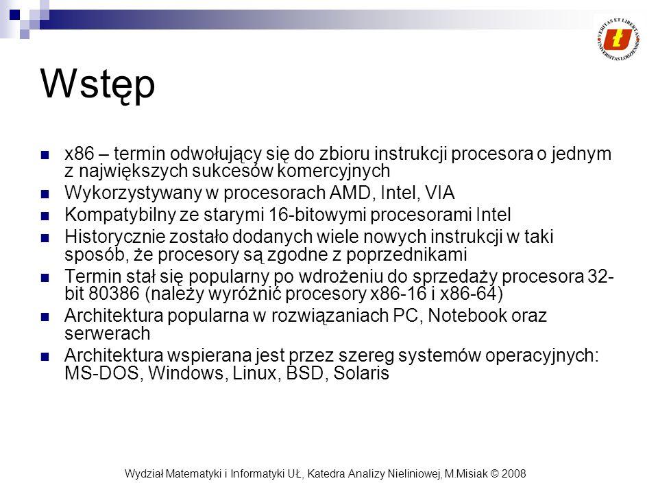 Wstępx86 – termin odwołujący się do zbioru instrukcji procesora o jednym z największych sukcesów komercyjnych.