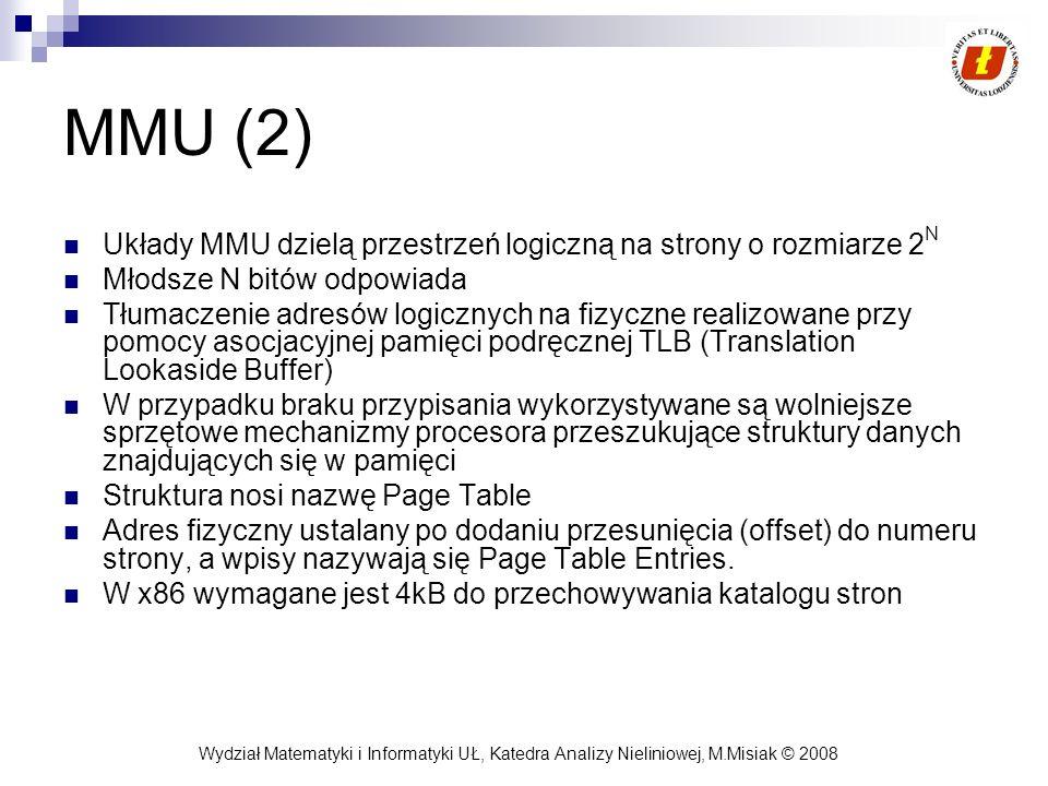MMU (2) Układy MMU dzielą przestrzeń logiczną na strony o rozmiarze 2N