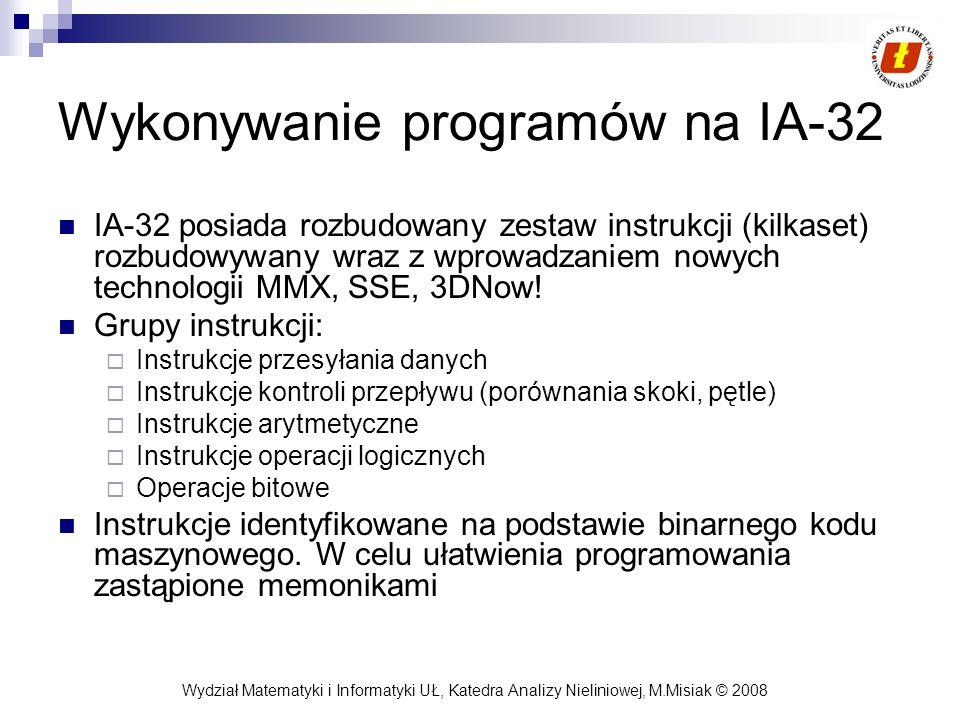 Wykonywanie programów na IA-32